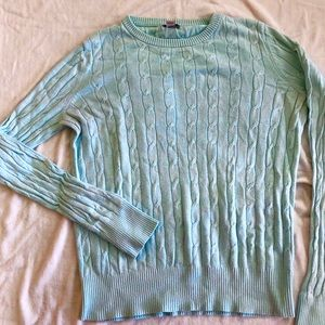 Cable knit pale blue sweater